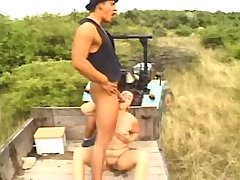 Old mom sucks cock and fucks with man in field